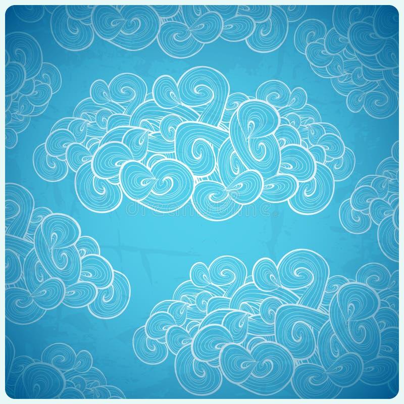 Fundo abstrato do vetor Nuvens brancas no azul ilustração royalty free