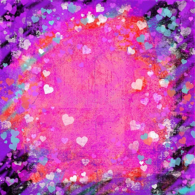Fundo abstrato dos corações do grunge do dia de Valentim ilustração do vetor