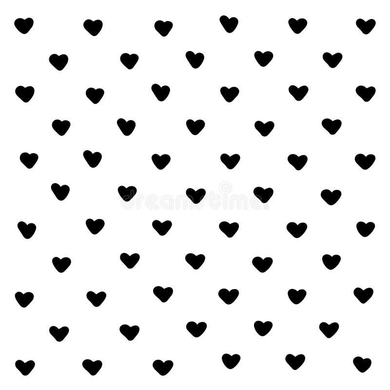 Fundo abstrato dos corações pretos bonitos Formas geométricas do coração da textura Para o teste padrão, cartão, cópia da camisa  ilustração royalty free