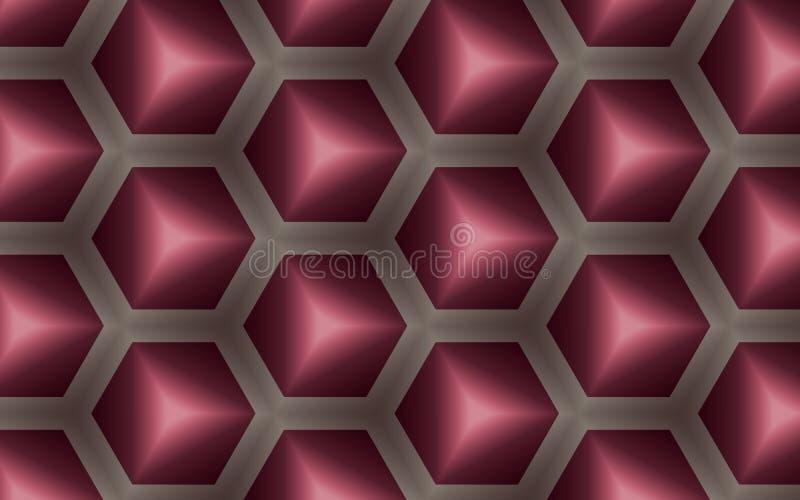 Fundo abstrato dos cubos 3D e dos hexágonos na forma de pente do mel ilustração stock