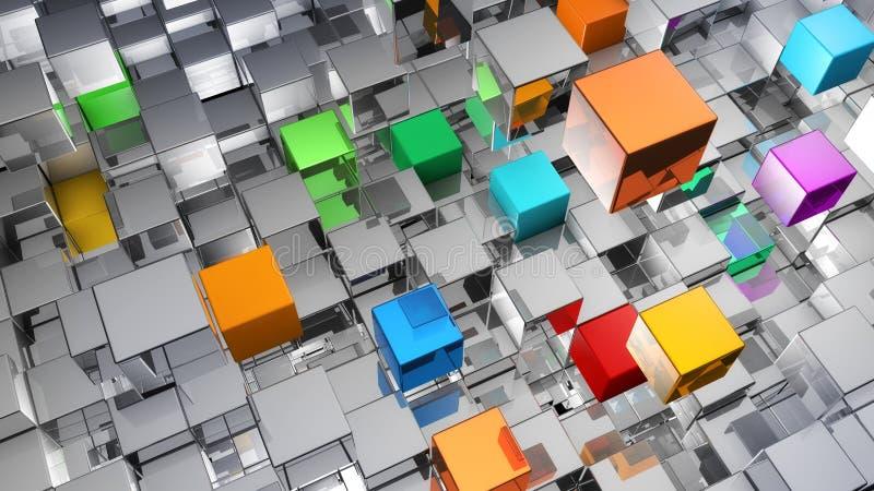 Fundo abstrato dos cubos metálicos ilustração royalty free