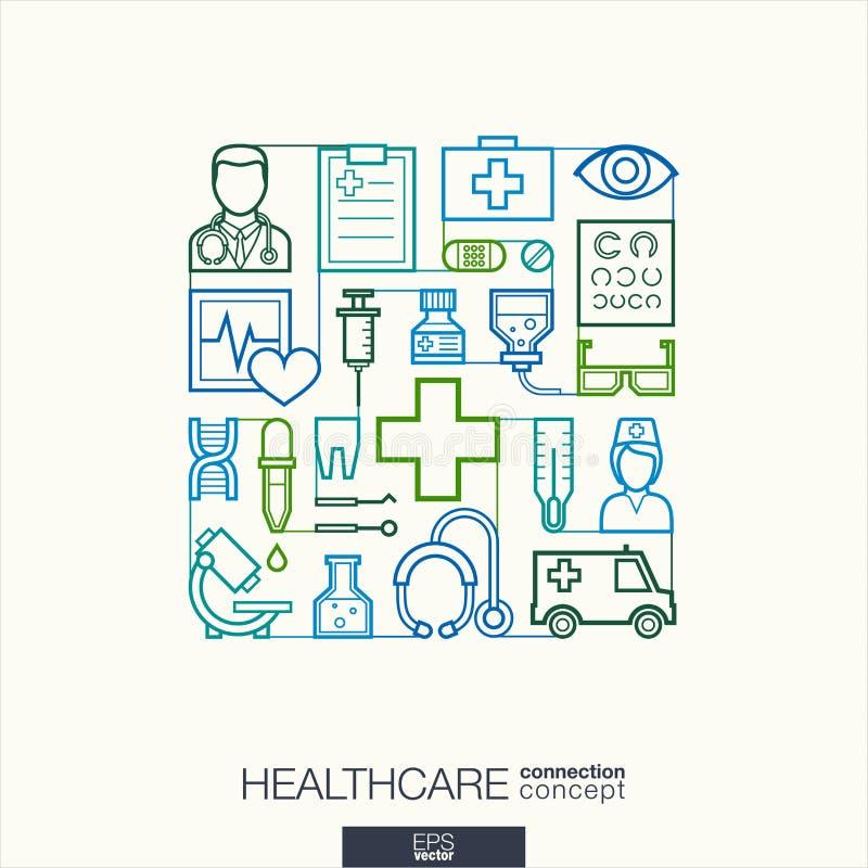 Fundo abstrato dos cuidados médicos, linha fina integrada símbolos ilustração royalty free