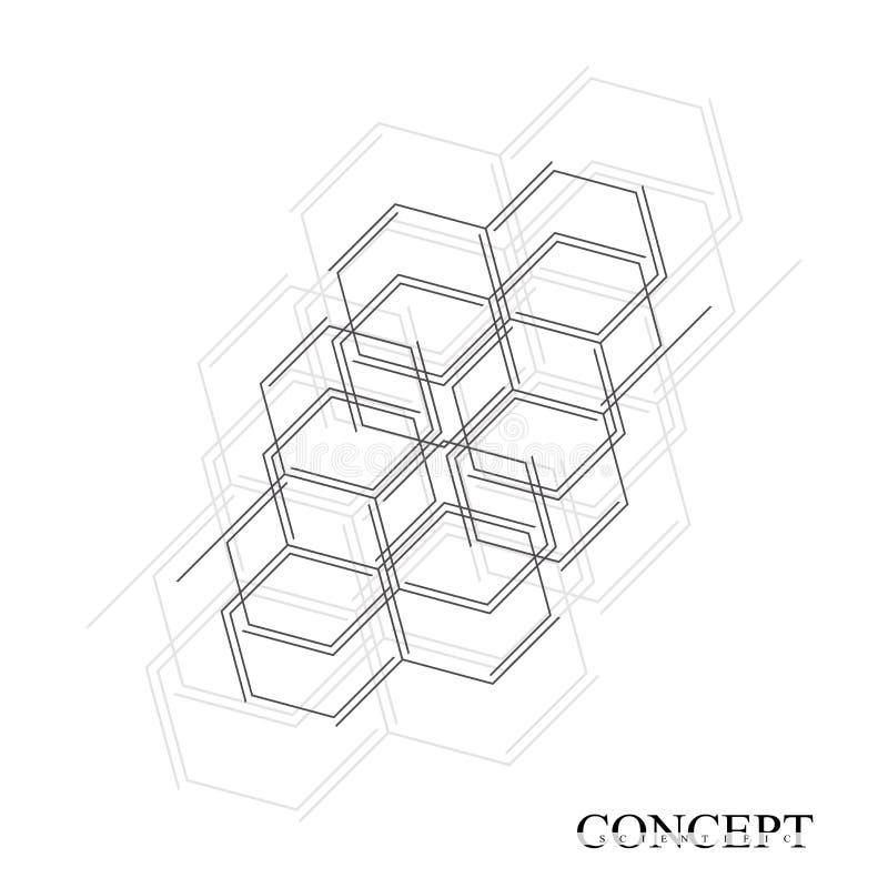 Fundo abstrato dos hexágonos Ciência e projeto geométricos do movimento da tecnologia Conceito do visualização dos dados de Digit ilustração stock