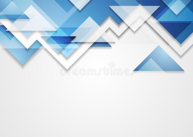 Fundo abstrato dos triângulos azuis brilhantes da tecnologia ilustração do vetor