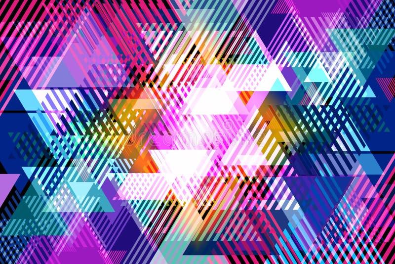 Fundo abstrato dos triângulos de vários tamanhos e cores ilustração do vetor
