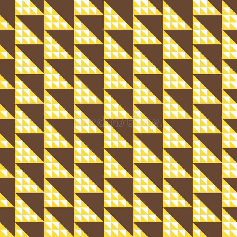Fundo abstrato dos triângulos, teste padrão sem emenda Teste padrão grande pequeno e marrom amarelo dos triângulos ilustração do vetor