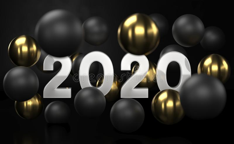 2020 fundo abstrato dourado e preto com bolhas das esferas 3d Bolas do Natal textured com ouro Tampa da joia ilustração stock