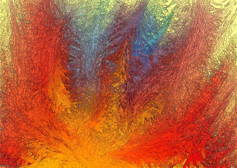 Fundo abstrato em tons vermelhos, amarelos e azuis ilustração do vetor