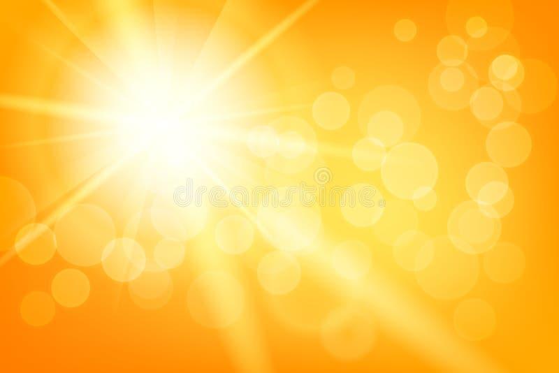 Fundo abstrato ensolarado do verão da natureza com sol ilustração do vetor