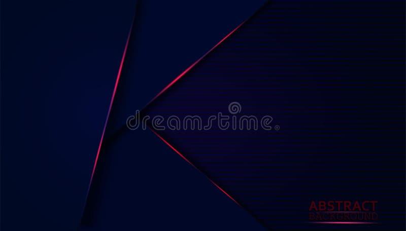 Fundo abstrato escuro com camadas cobertas azuis Forma moderna com a decora??o clara vermelha da fa?sca ilustração royalty free