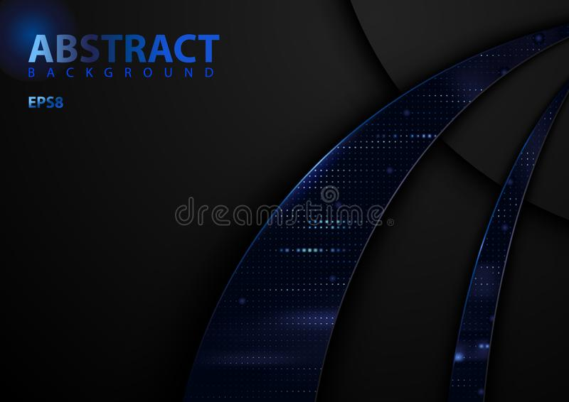 Fundo abstrato escuro da tecnologia com elementos azuis ilustração royalty free