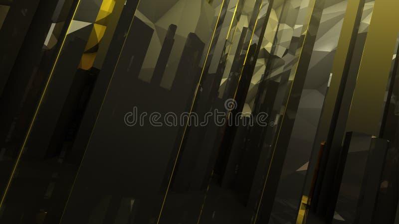 Fundo abstrato escuro do vidro da coluna do ouro preto fotos de stock