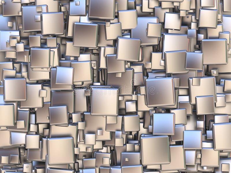 Fundo abstrato feito das telhas de prata 3d ilustração stock