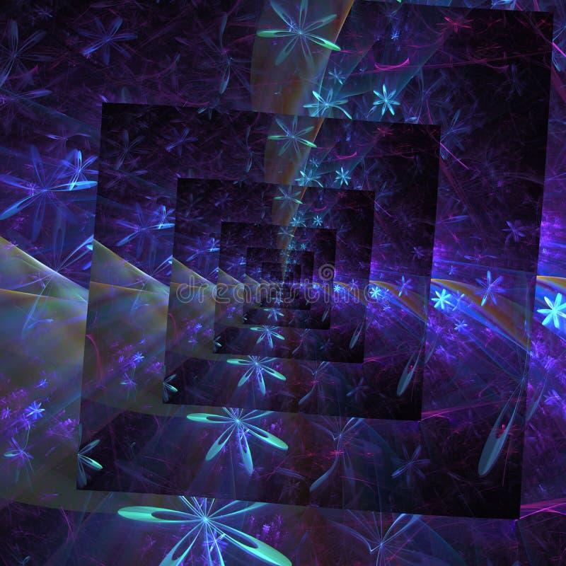 Fundo abstrato floral retangular espiral azul roxo violeta da fantasia ilustração do vetor