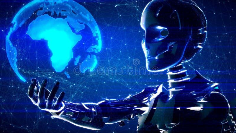 Fundo abstrato futurista da tecnologia com robô e terra ilustração do vetor