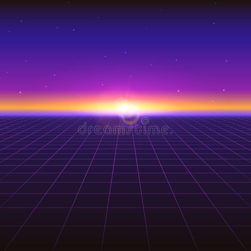 Fundo abstrato futurista de Sci fi com grades de néon e estrelas Inclinação retro violeta, estilo do vintage dos anos 80 ilustração stock