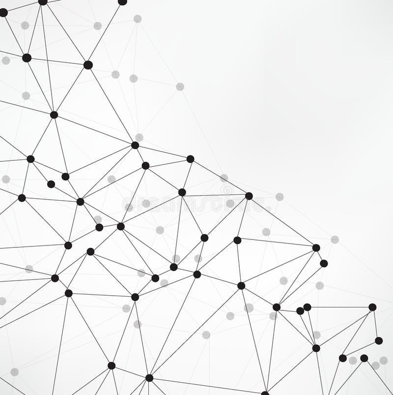 Fundo abstrato geométrico com linha e os pontos conectados Molécula e comunicação da estrutura Visualização grande dos dados Médi ilustração stock