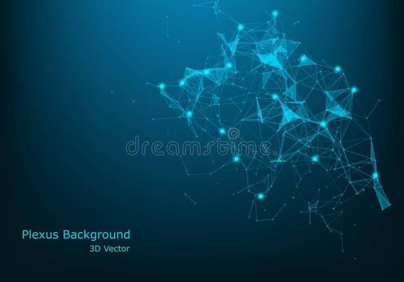 Fundo abstrato geométrico com linha e os pontos conectados Visualização grande dos dados Vetor da conexão de rede global simples ilustração stock