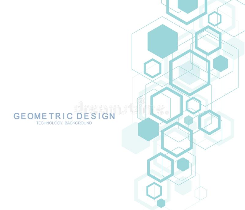 Fundo abstrato geométrico da molécula para a medicina, ciência, tecnologia, química Conceito científico da molécula do ADN ilustração do vetor