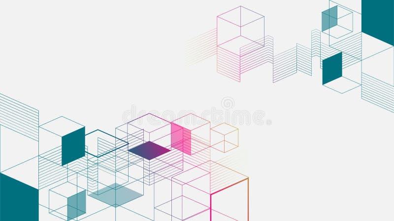 Fundo abstrato geométrico isométrico colorido ilustração royalty free
