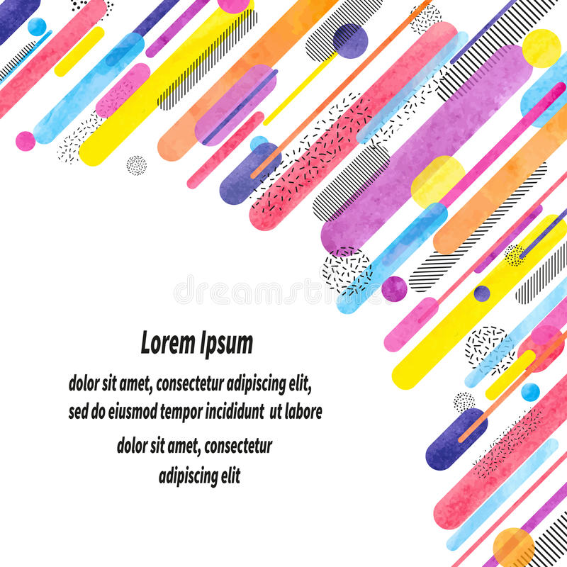 Fundo abstrato geométrico na moda com formas arredondadas e linhas da aquarela colorida ilustração stock