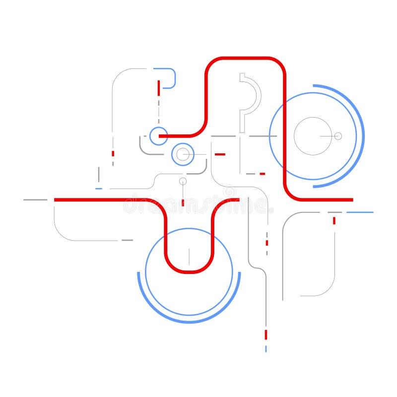 Fundo abstrato geom?trico dos elementos de rede dos dados de Digitas ilustração royalty free