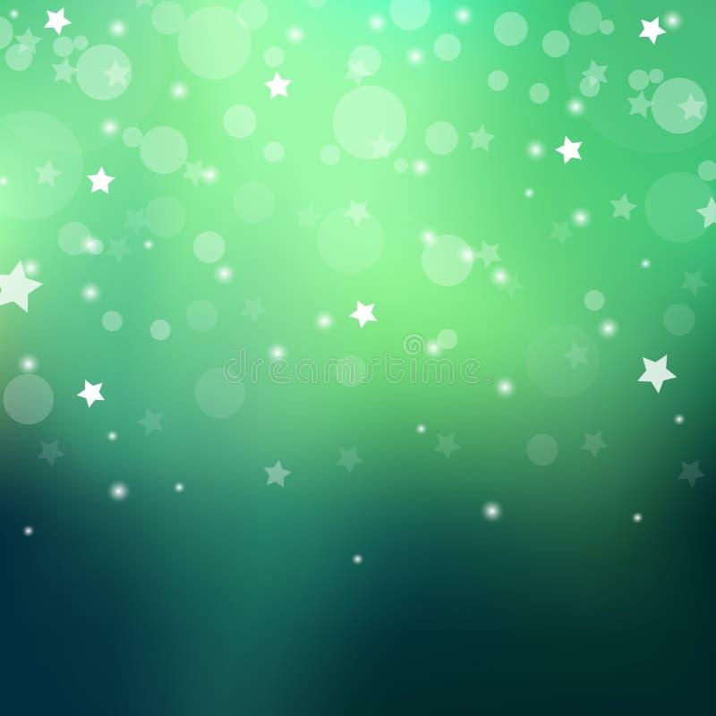 Fundo abstrato gredient do verde do polaris da Aurora com estação do inverno do floco da neve ilustração stock