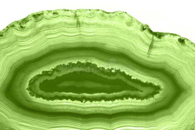 Fundo abstrato - hortaliças minerais do macro PANTONE da fatia verde da ágata foto de stock royalty free