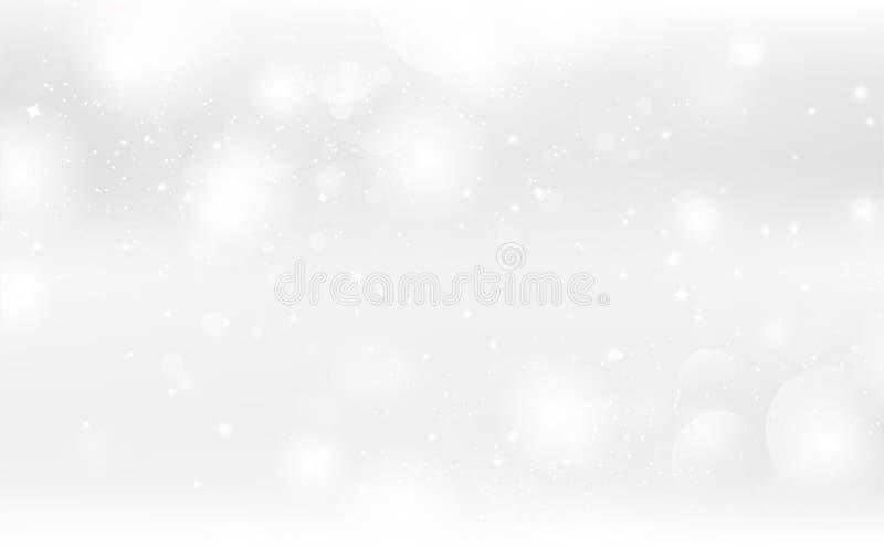Fundo abstrato, ilustração sazonal do vetor da celebração do feriado da decoração de prata mágica da faísca das estrelas da fanta ilustração royalty free