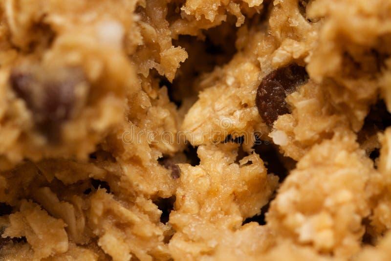 Fundo abstrato macro do chocolate Chip Cookie Dough Batter da farinha de aveia fotos de stock royalty free