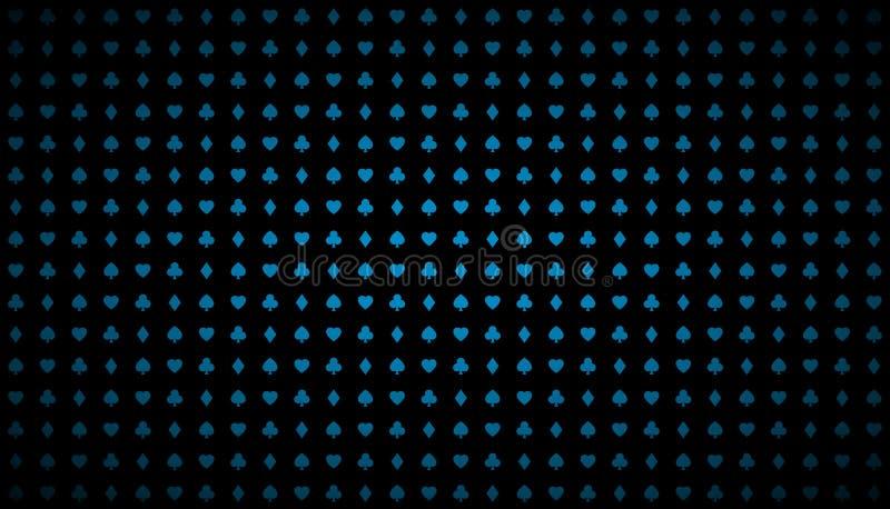 Fundo abstrato moderno do casino do vetor com sinais azuis brilhantes dos cartões de jogo, símbolos do pôquer no fundo preto ilustração stock