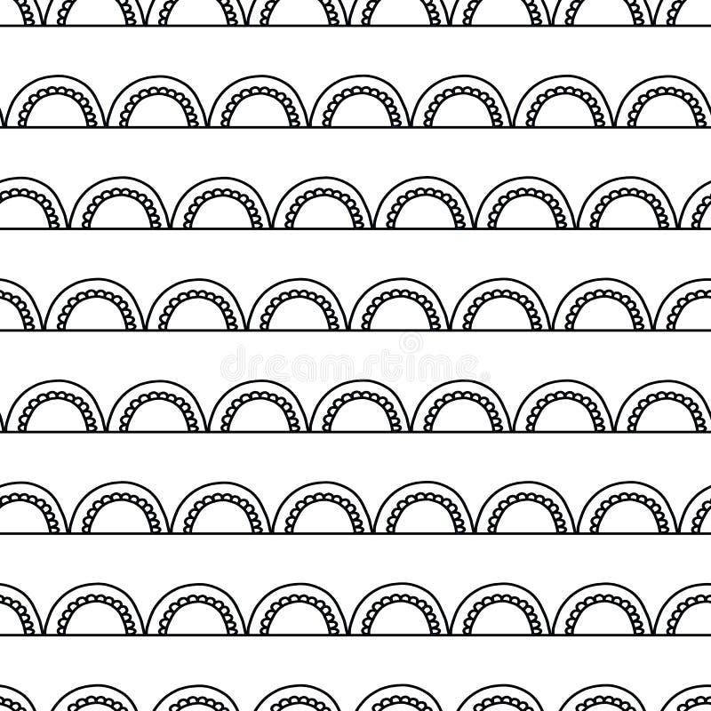 Fundo abstrato monocromático da garatuja Teste padrão geométrico sem emenda do vetor Arcos pretos no branco Projeto do arco do de ilustração stock
