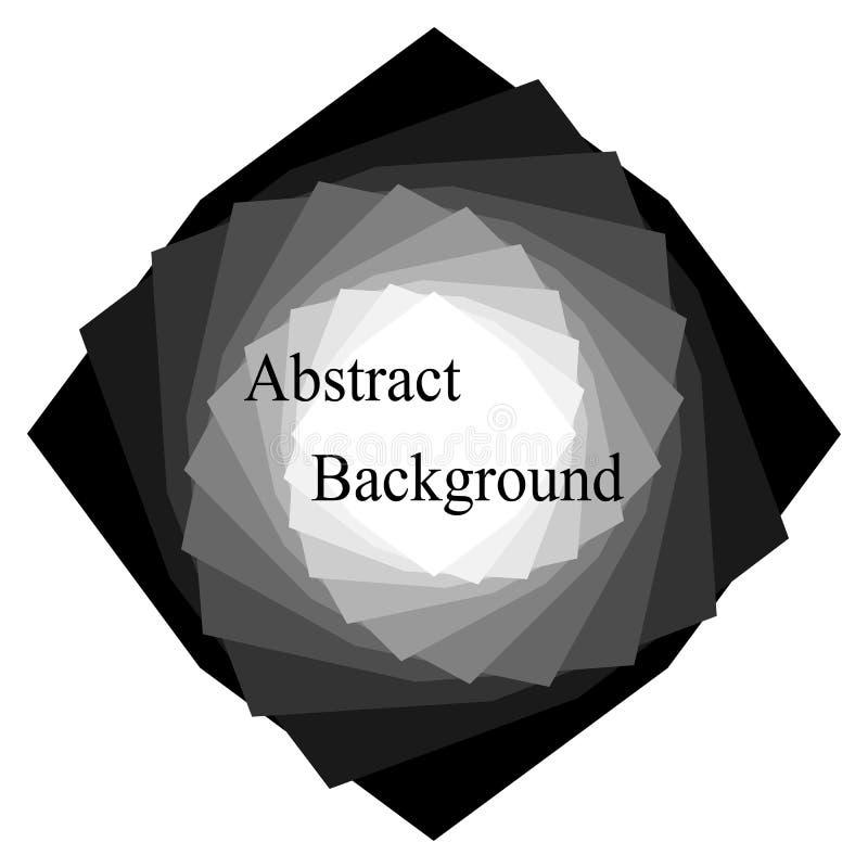 Fundo abstrato monocromático Uma pilha de polígono torcidos do branco pequeno ao grande preto Molde para etiquetas, bandeiras ilustração do vetor