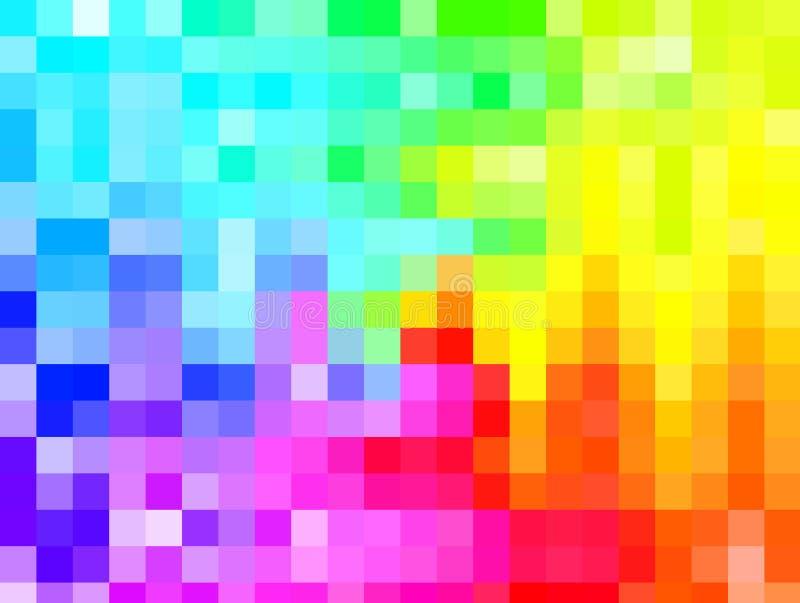 Fundo abstrato, mosaico colorido do arco-íris, quadrados coloridos, g ilustração do vetor