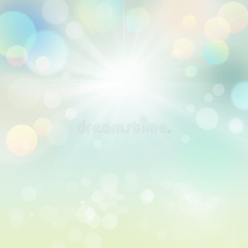 Fundo abstrato natural das férias de verão da mola com Sun ilustração royalty free