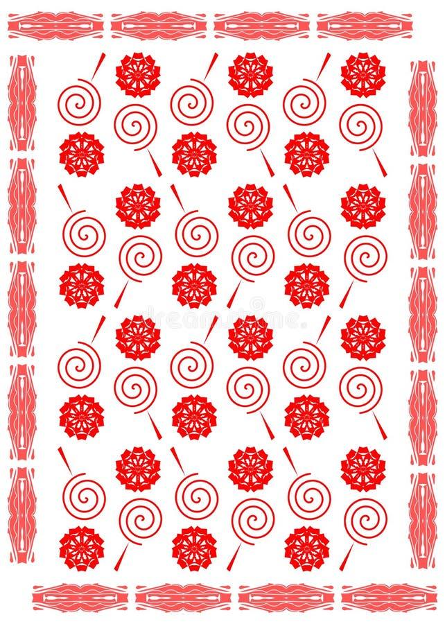 Fundo abstrato no vermelho com pirulitos estilizados ilustração royalty free