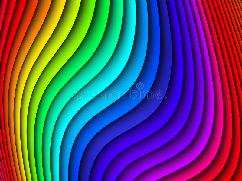 Fundo abstrato ondulado do arco-íris brilhante, ilustração do vetor ilustração royalty free