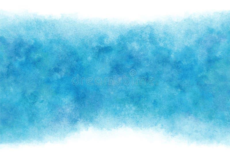 Fundo abstrato ou natural da água azul do verão da cor pastel da aquarela da mão da pintura, ilustração do vetor ilustração stock
