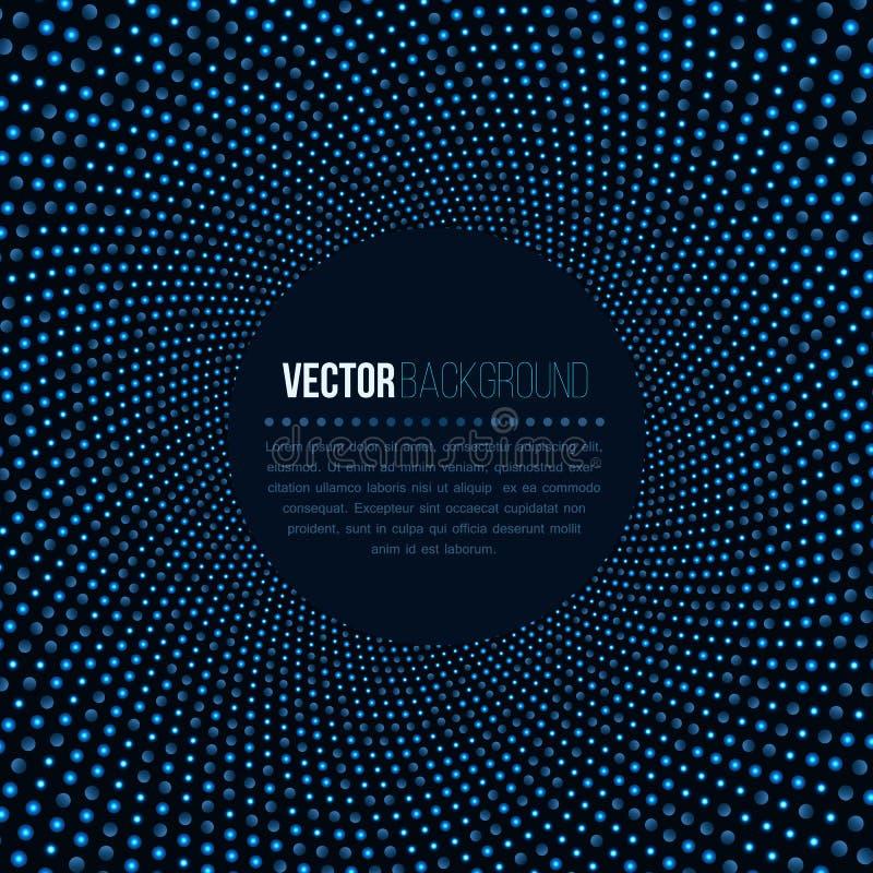 Fundo abstrato para o negócio da tecnologia Luzes azuis do clube noturno do disco na forma redonda no contexto escuro túnel 3D ilustração royalty free