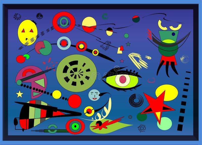 Fundo abstrato, pintor do francês do ` de Miro do estilo imagens de stock royalty free