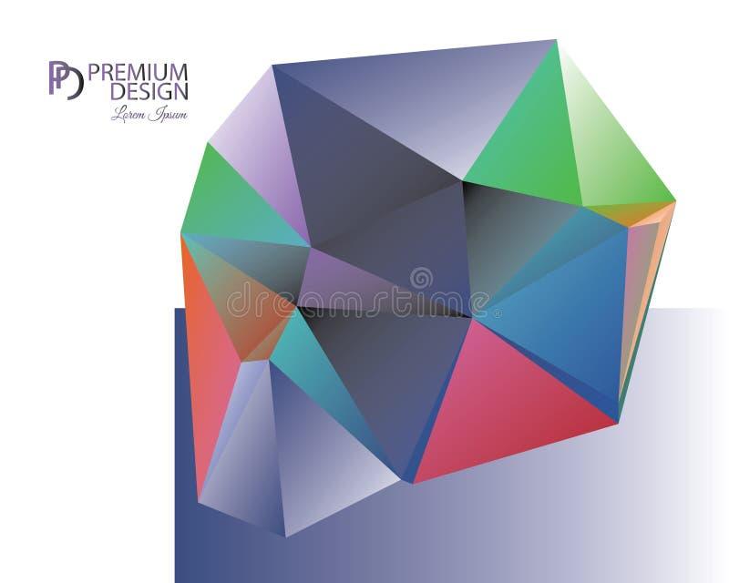 Fundo abstrato poligonal e logotipo do paládio ilustração do vetor