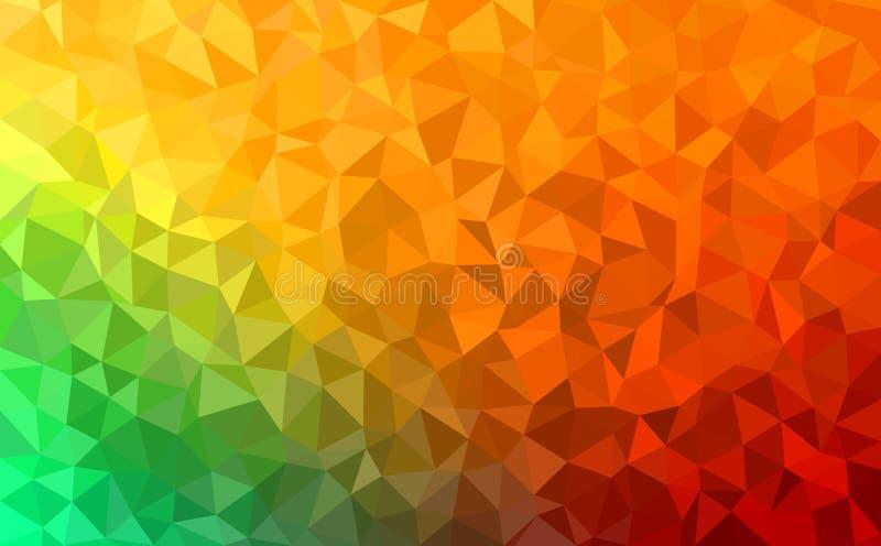 Fundo abstrato poligonal - verde, amarelo, alaranjado ilustração stock