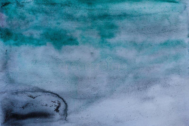 Fundo abstrato preto da aquarela de turquesa ilustração do vetor