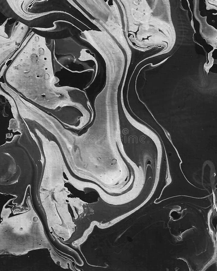Fundo abstrato preto e branco pintado ? m?o ilustração stock