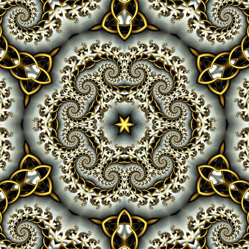 Fundo abstrato que consiste em ondas do fractal na cor e nas estrelas do ouro ilustração royalty free