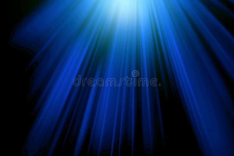 Fundo abstrato, raios azuis em preto, efeito da luz, raios, luz, azul, preto, escura ilustração do vetor