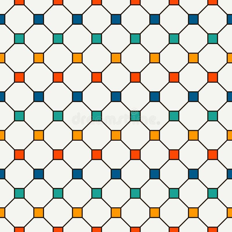 Fundo abstrato repetido dos quadrados brilhantes Teste padrão sem emenda minimalista com ornamento geométrico Papel de parede Che ilustração royalty free