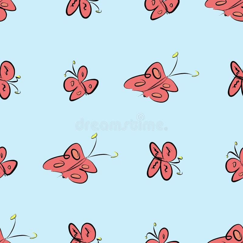 Fundo abstrato sem emenda das ilustrações da borboleta Esboço, gráfico, de superfície & digital ilustração stock