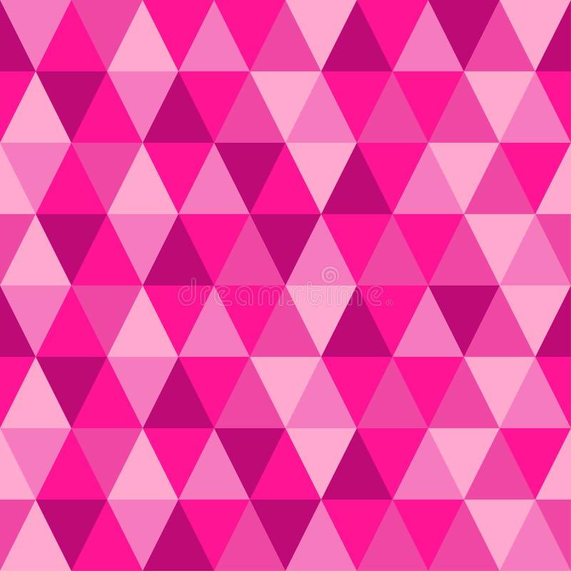 Fundo abstrato sem emenda geométrico com formas do triângulo como o teste padrão de mosaico em um rosa plástico na moda de 2019 c ilustração stock
