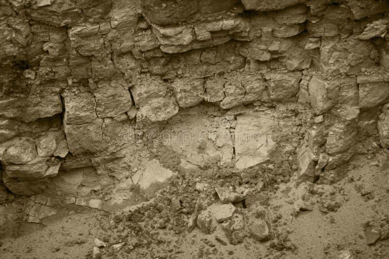 Fundo abstrato sem emenda Quebras e camadas de arenito O teste padrão das camadas Geological variegated do arenito de terra foto de stock